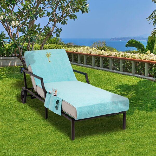 Palm Tree Embroidered Standard Patio Chaise Lounge Cover with Side Pockets by Breakwater Bay