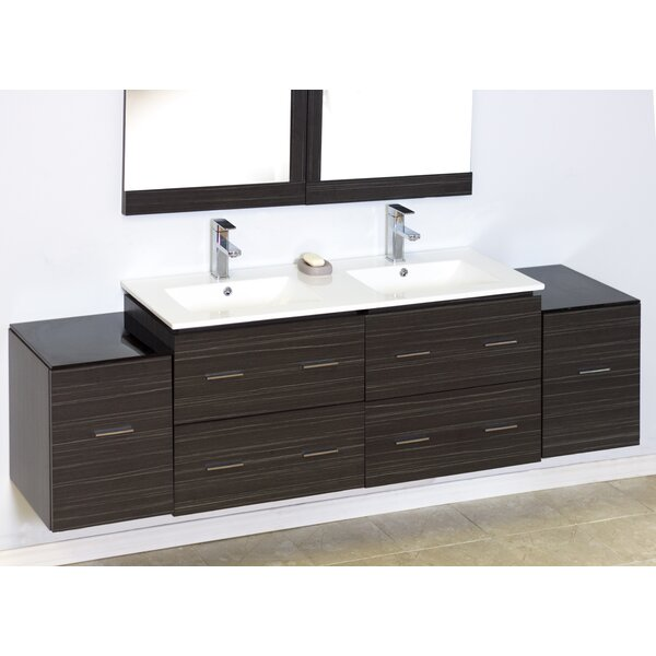 76 Double Modern Wall Mount Bathroom Vanity Set by American Imaginations
