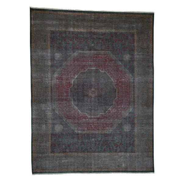 One-of-a-Kind Ensor Vintage Look Shaved Low Worn Hand-Knotted Silk Green Area Rug by World Menagerie