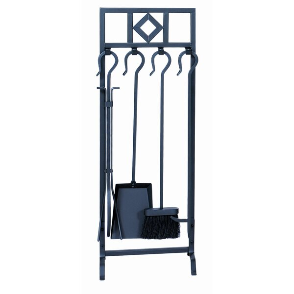 4 Piece Wrought Iron Inline Fireplace Tool Set With Stand by Uniflame Corporation
