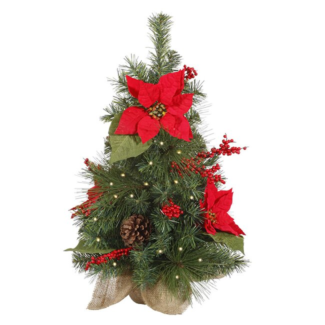 Vickerman 2' Poinsettia and Pine Cone Christmas Tree with Clear ...