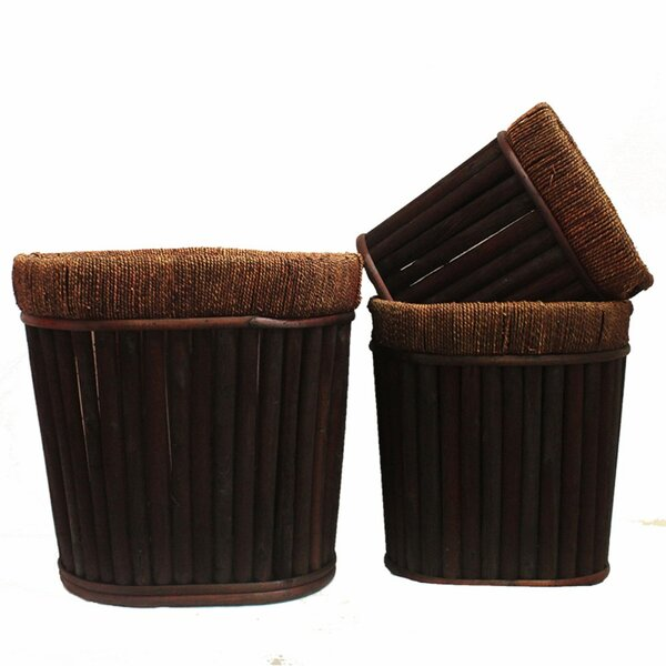 Crofoot Traditional Style Willow 3-Piece Wood Pot Planter Set by World Menagerie