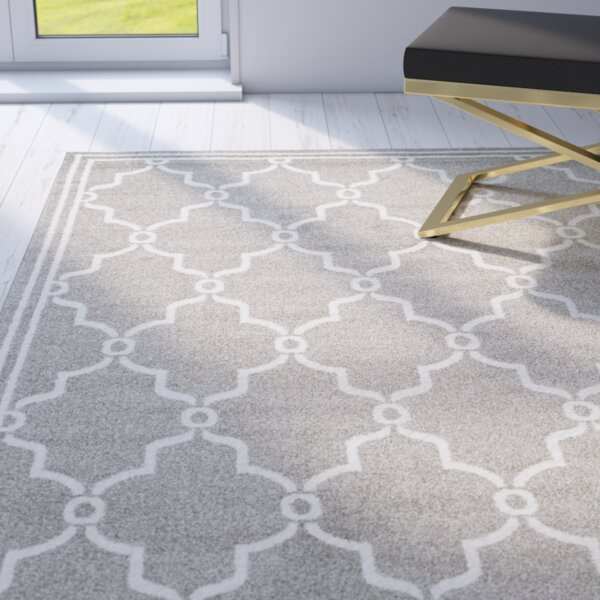 Wason Power Loomed Dark Gray/Beige Indoor/Outdoor Area Rug by Three Posts