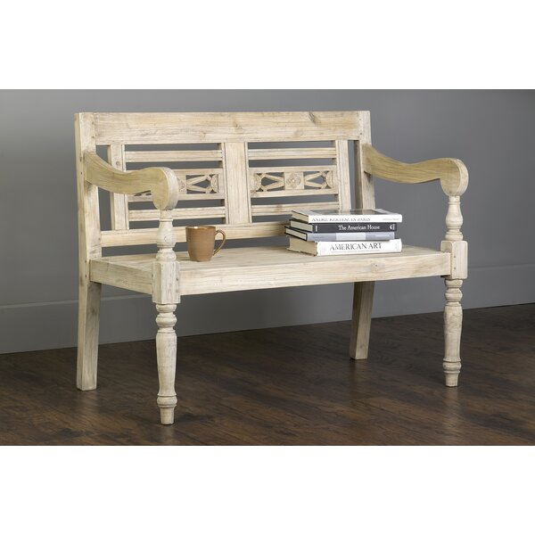 Scroggs Carved Wood Bench by Darby Home Co