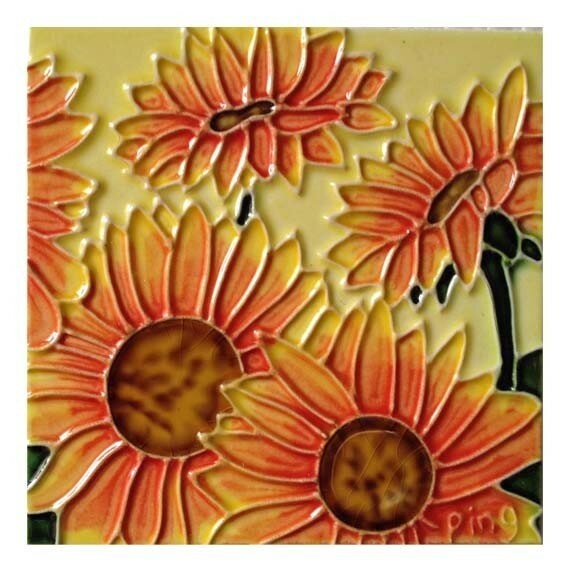 4 Sunflowers Tile Wall Decor by Continental Art Center