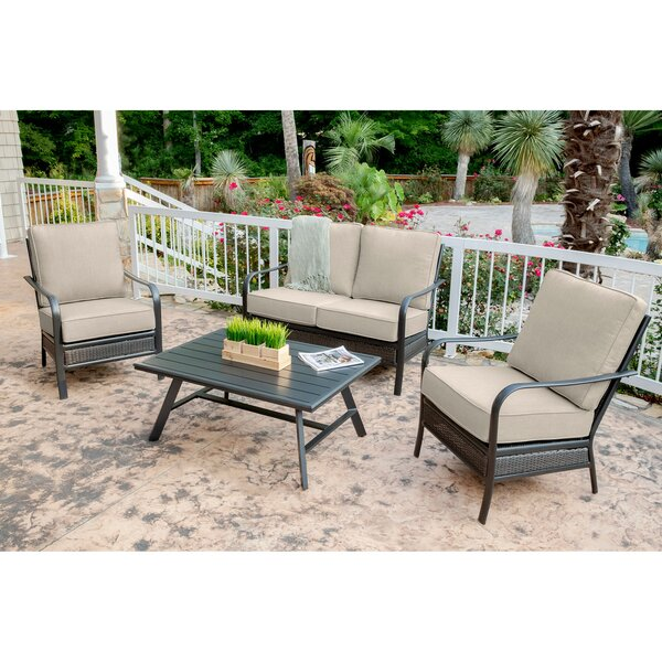 Becerra 4-Piece Commercial-Grade Patio Set with 2 Aluminum/Woven Club Chairs Loveseat and Slat-Top Coffee Table by Charlton Home