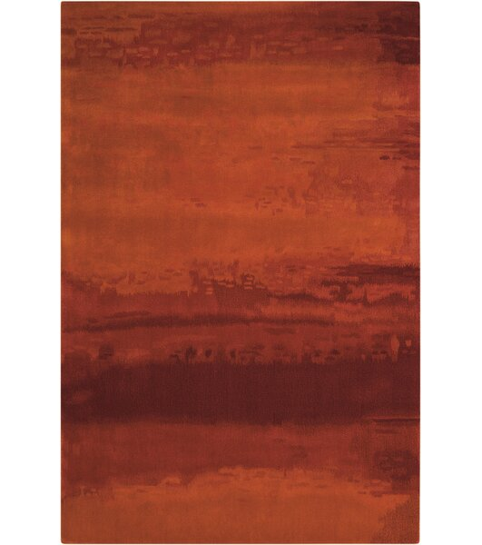 Luster Wash Hand Woven Wool Russet Tones Rust Area Rug By Calvin Klein.