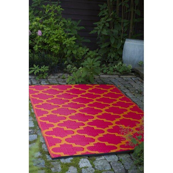 Bremond Block Hand Woven Orange/Pink Indoor/Outdoor Area Rug by Mercury Row