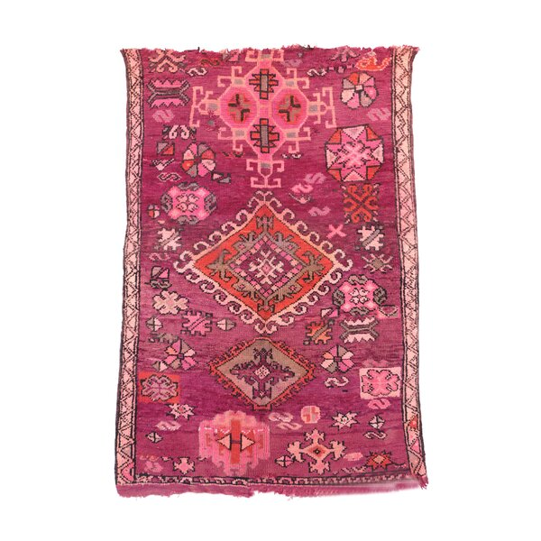 One-of-a-Kind Boujad Moroccan Hand-Knotted Wool Pink Area Rug by Indigo&Lavender