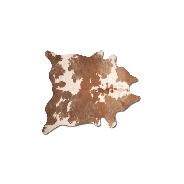 Abhinav Hand-Woven Leather Brown/White Cowhide Area Rug by 17 Stories