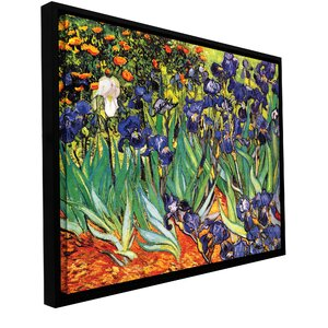 'Irises in the Garden' by Vincent Van Gogh Framed Painting Print on Wrapped Canvas by ArtWall