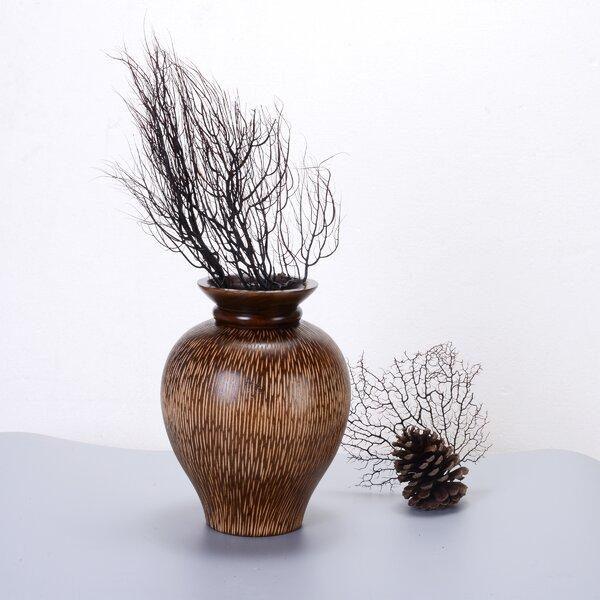 Nyles Decorative Urn Mango Wood Table Vase by World Menagerie