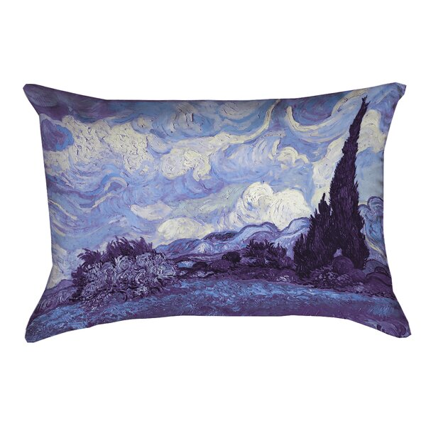 Morley Field with Cypresses Weather Resistant Outdoor Pillow Cover by Red Barrel Studio