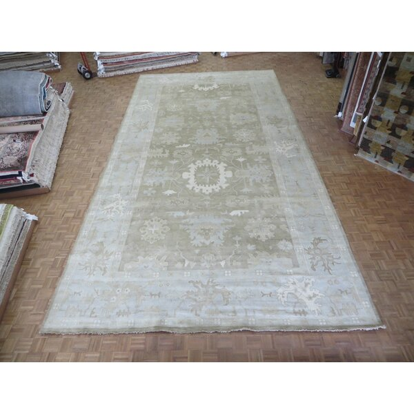 One-of-a-Kind Pellegrino Turkish Oushak Hand-Knotted Wool Soft Brown Area Rug by Bloomsbury Market