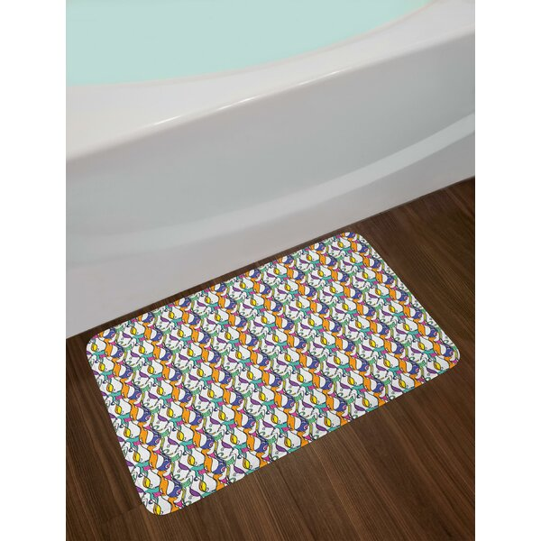 Cat Design with Various Stances Colorful Abstract Pet Pattern Animal Fun Artwork Bath Rug by East Urban Home