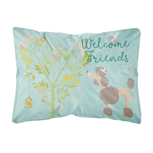 Martinez Welcome Friends Poodle Indoor/Outdoor Throw Pillow by Winston Porter