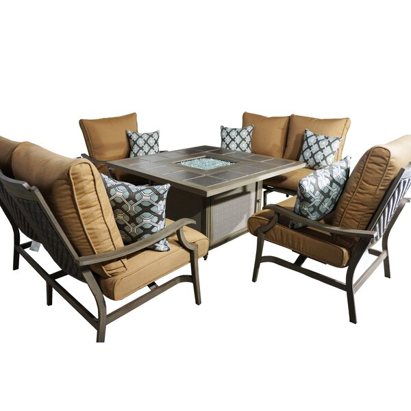 Feng 5 Piece Deep Sunbrella Conversation Set With Cushions by Red Barrel Studio