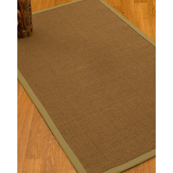 Huntwood Border Hand-Woven Brown/Green Area Rug by Breakwater Bay
