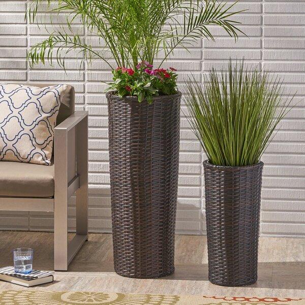 Coopers Corner 2-Piece Wicker Pot Planter Set by Wrought Studio