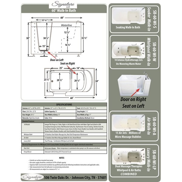 60 L x 30 W x 38 H Walk-in Baths Air by Signature Bath