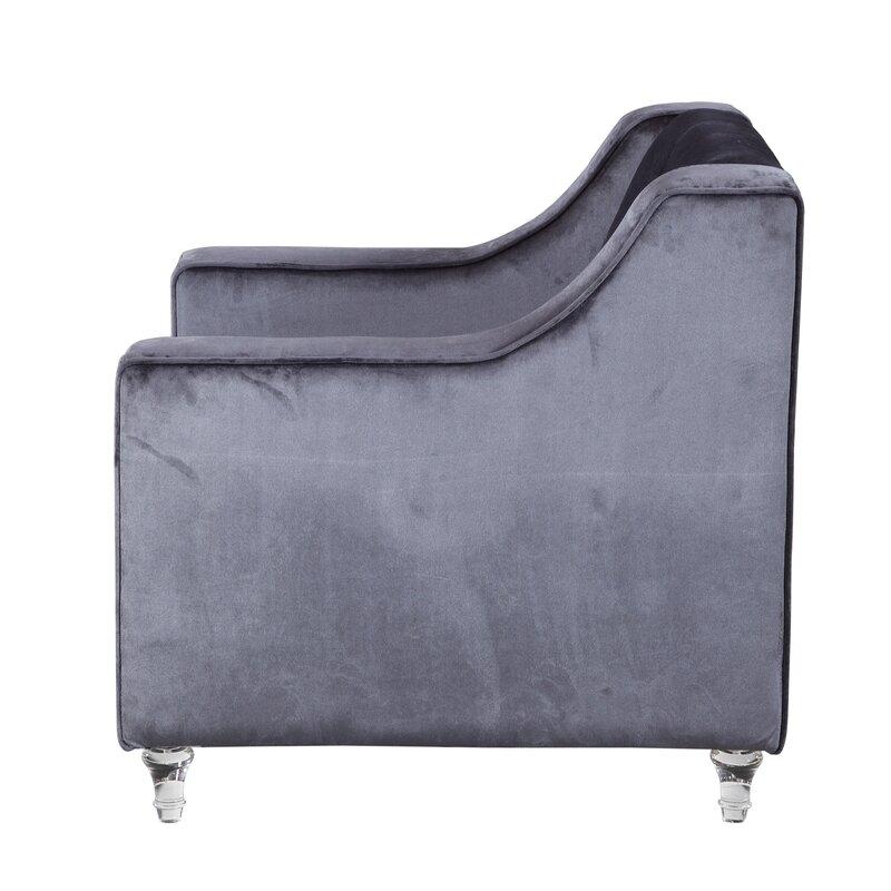 Dylan Silver Nailhead Trim Button Tufted Armchair