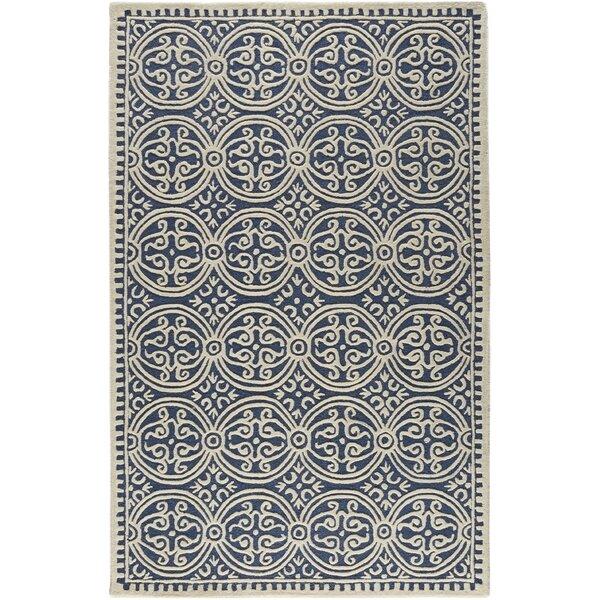 Fairburn Hand-Tufted Wool Navy Area Rug by House of Hampton