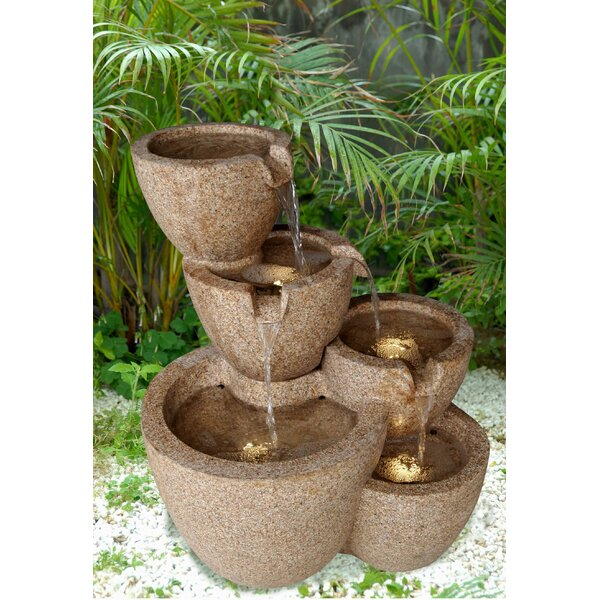 Tiered Multi-Pots Fountain with LED Light by Jeco Inc.