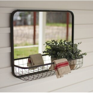 Gracie Oaks Acree Wire Basket Shelf Accent Mirror