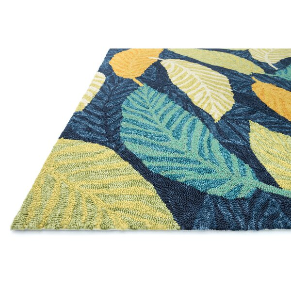 Kirshe Hand-Hooked Blue/Beige Indoor/Outdoor Area Rug by Ebern Designs