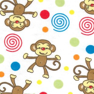 Read Reviews Monkey Print Flannel Fitted Crib Sheet ByTrend Lab