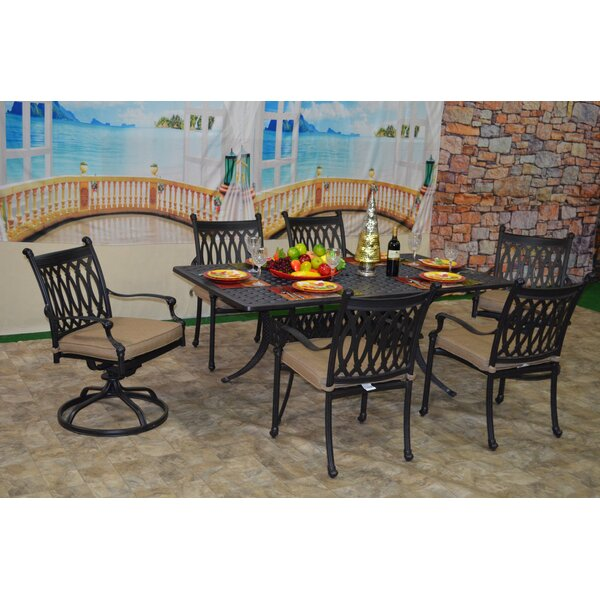 Baragrey 7 Piece Sunbrella Dining Set with Cushions by Fleur De Lis Living