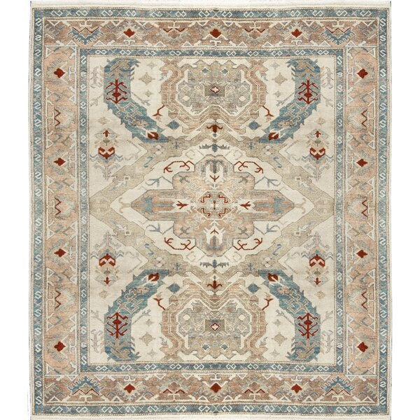 One-of-a-Kind Hand-Knotted Wool Beige/Blue Area Rug by Bokara Rug Co., Inc.