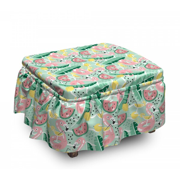 Tropic Flamingo And Cocktail Ottoman Slipcover (Set Of 2) By East Urban Home