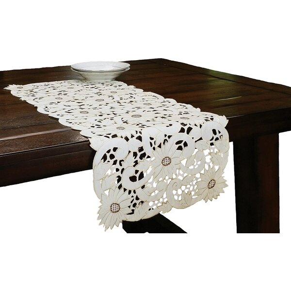 Sunflower Embroidered Cutwork Table Runner by Xia Home Fashions