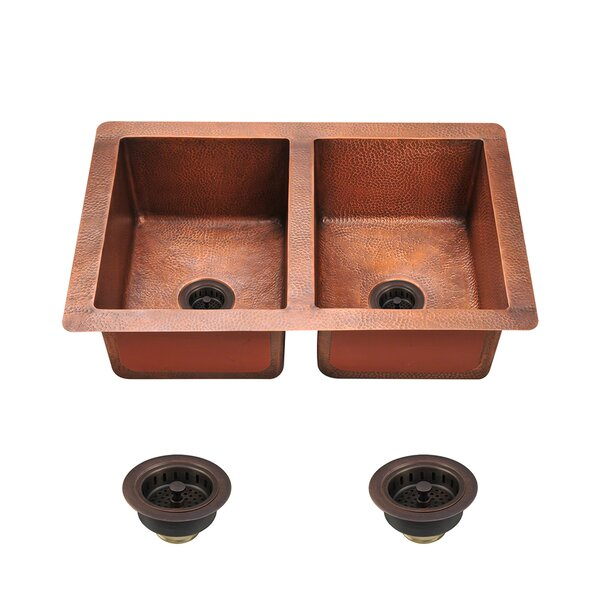 Copper 33 L x 22 W Double Basin Undermount Kitchen Sink With Drain Assembly by MR Direct
