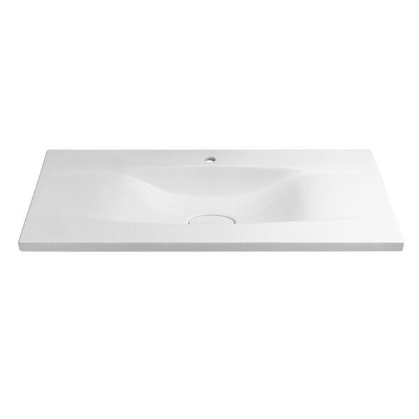 Pure Ceramic Rectangular Drop-In Bathroom Sink by Ronbow