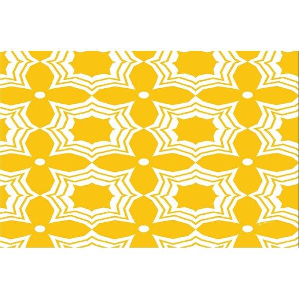 Battiste Yellow/White Area Rug by Ebern Designs