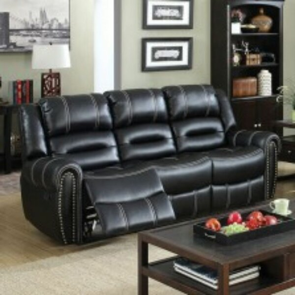 Dorris Leather Reclining Sofa by Darby Home Co