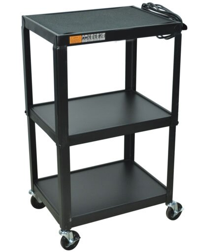 Black Adjustable Height Metal Cart by AmpliVox Sound Systems