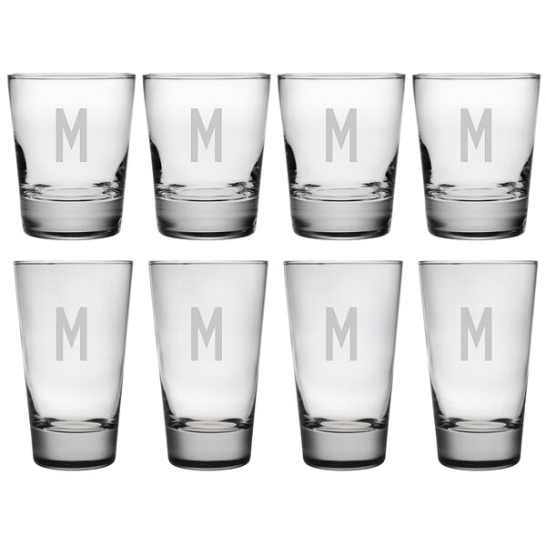 Block Monogram 8-Piece Tumbler Set by Susquehanna Glass