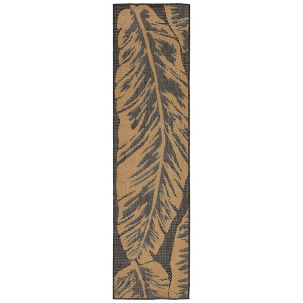 Hunley Banana Leaf Gray/Beige Indoor/Outdoor Area Rug by Highland Dunes