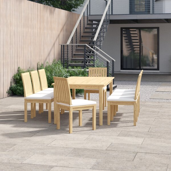 Anthony Outdoor Patio 9 Piece Teak Dining Set with Cushions by Foundstone