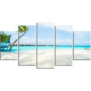 'Tropical Maldives Island' 5 Piece Wall Art on Wrapped Canvas Set by Design Art