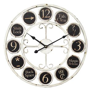 17.7″ Round Keyboard Icons Metal Wall Clock