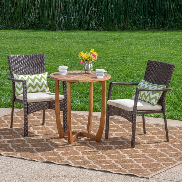 Villanueva Outdoor 3 Piece Bistro Set with Cushions by Ebern Designs