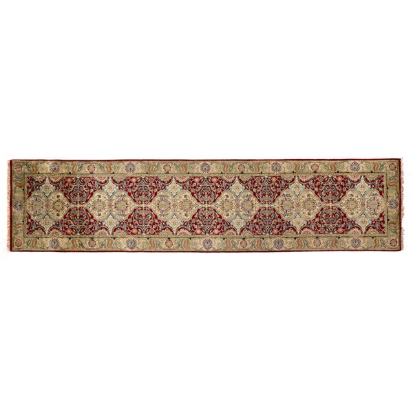 European Polonaise Hand-Knotted Wool Burgundy/Beige Area Rug by Exquisite Rugs