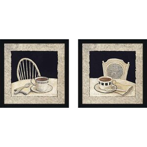 'Stay for Coffee' 2 Piece Framed Acrylic Painting Print Set Under Glass by Laurel Foundry Modern Farmhouse
