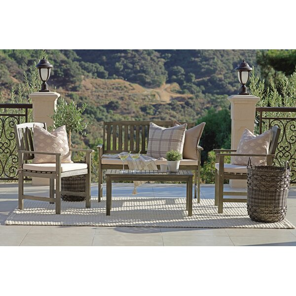 Kaylan 4 Piece Seating Group with Cushions by Rosecliff Heights