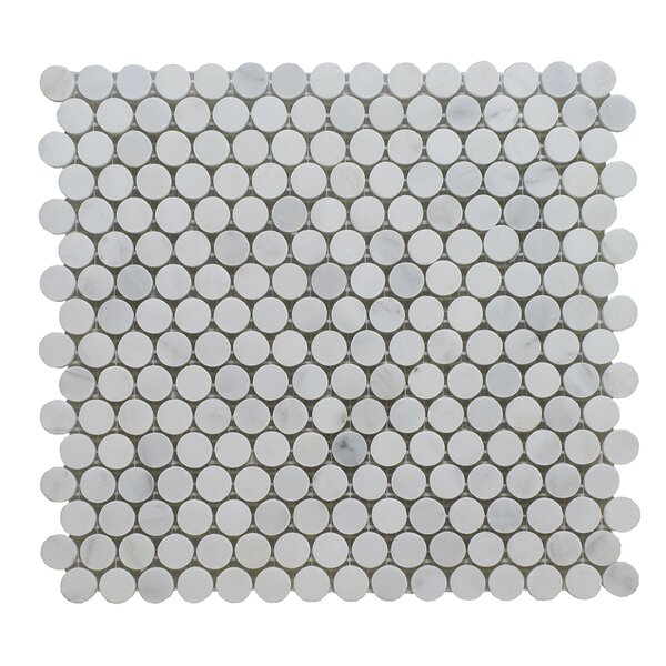 Arabescato Penny Round Polished 12 x 12 Marble Mosaic Tile in Gray by Seven Seas