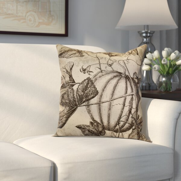 Miller Antique Pumpkin Floral Outdoor Throw Pillow by Alcott Hill